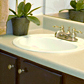 Bathroom vanity countertop refinishing and door replacement with cherrywood faces